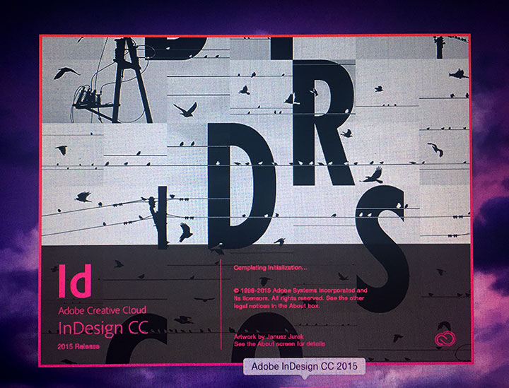 InDesign launch screen 9.16